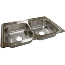 """Moen Stainless Steel Kitchen Sink - 33"""" X 22"""" X 6-1/2"""", 4-Hole, 20 Gauge, Matte"""