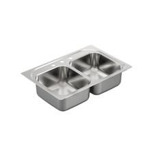 """Moen Stainless Steel Kitchen Sink - 33"""" X 22"""" X 6-1/2"""", 3-Hole, 22 Gauge, Matte"""