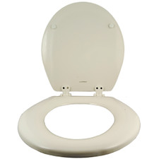 Comfort Seats Round Toilet Seat - White, Wood, Closed Front