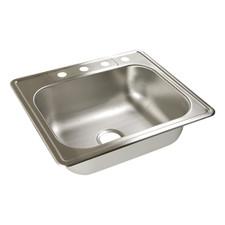 """Moen Stainless Steel Kitchen Sink- 25"""" X 22"""" X 6-1/2"""", 4-Hole, 22 Gauge, Matte"""
