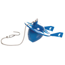 Blue Vinyl Toilet Flapper with Bead Chain