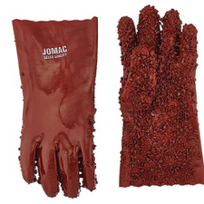 Red Sewer Glove Pair - Rough PVC