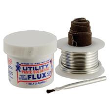 "Utility Bio-Safe Lead Free Soldering Kit - 2 Oz. Flux, 1/4 Lb. Solder, Flux Brush, 18"" Emery Cloth"