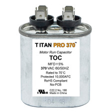 Packard Titan Pro Oval Motor Run Capacitor - 370 Volt, 7.5 MFD, 50/60 Hz.