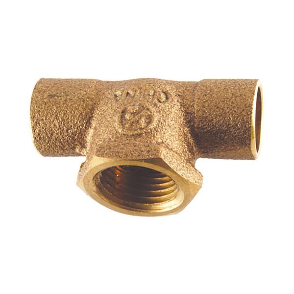 """Brass Wrot Tee - 3/4"""" x 3/4"""" x 1/2"""""""
